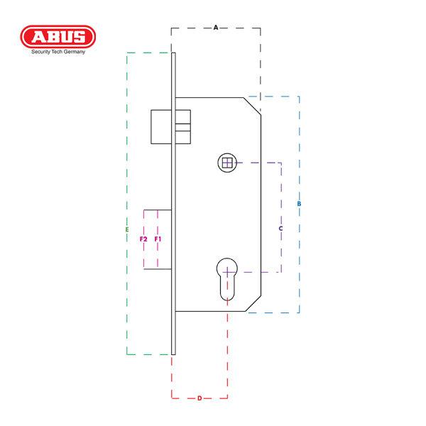 ABUS Euro Cylinder Mortice Lock TKZ70 TGL-L-HG_C